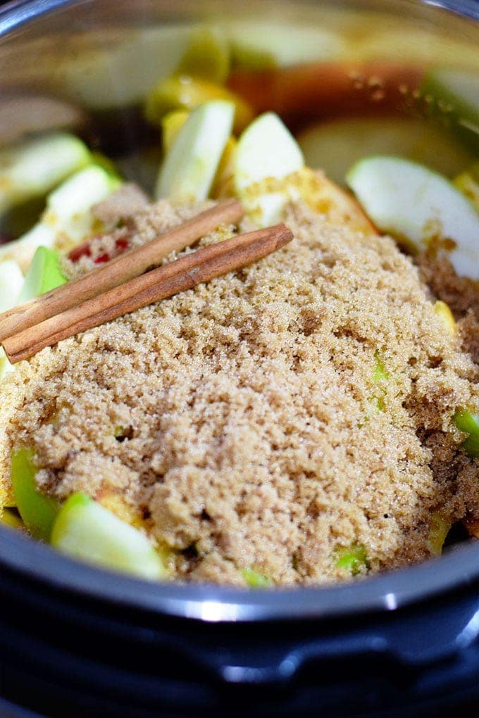 A close up of the ingredients for Instant Pot Apple Butter, including cinnamon sticks, brown sugar, and sliced apples