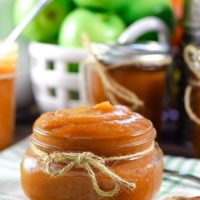 Jar of Instant Pot Apple Butter with tied with Jute Ribbon