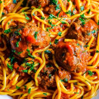 Instant Pot Spaghetti and Meatballs in a white bowl