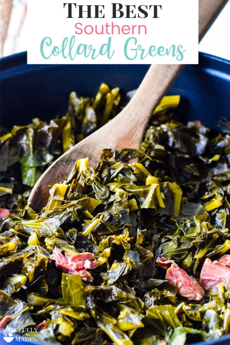 Southern Collard Greens - made with your favorite smoky pork, a pinch of sweet, and a dash of heat, topped of with a splash of tangy vinegar. A classic southern dish cooked slow until tender and delicious. #CollardGreens #SouthernGreens #Greens #Collards