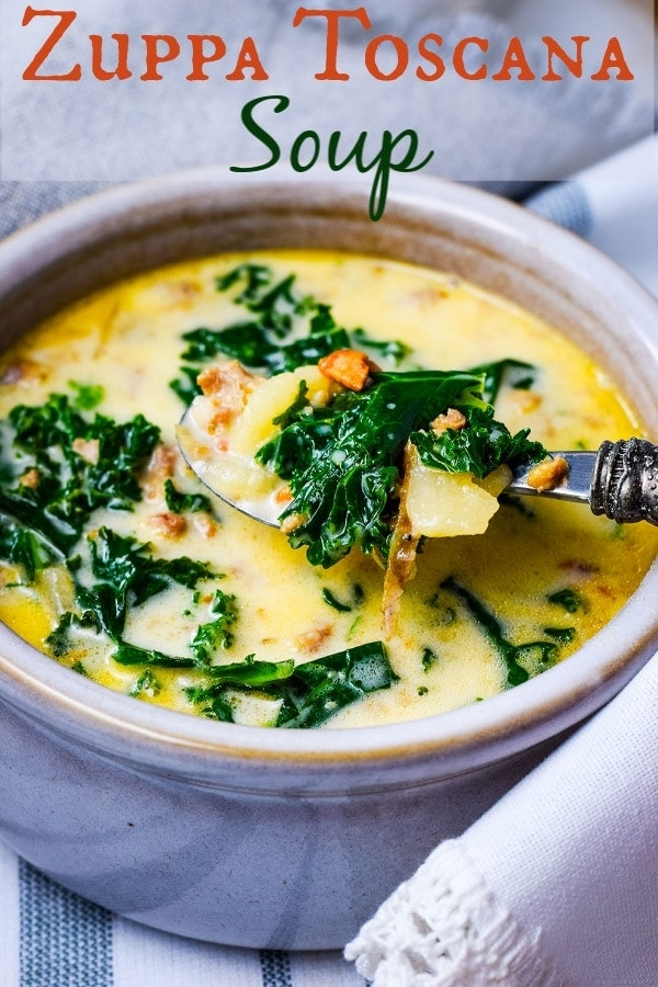 a white bowl filled with this homemade Zuppa Toscana soup recipe with sausage and kale