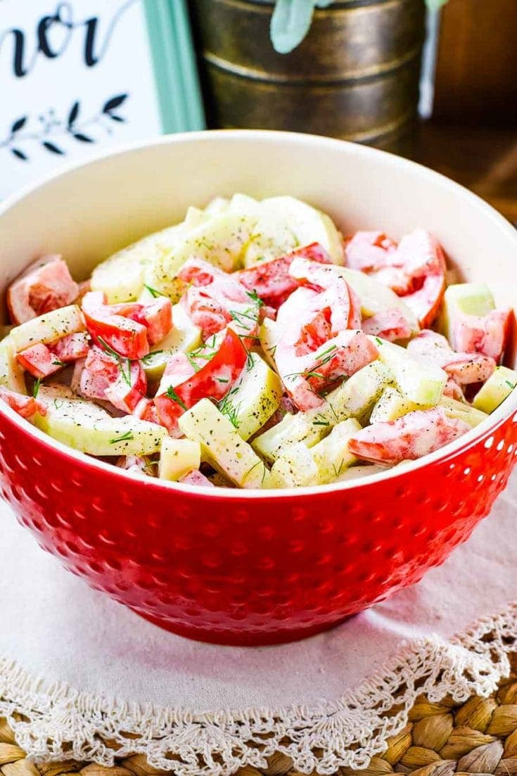 Creamy Cucumber and Tomato Salad