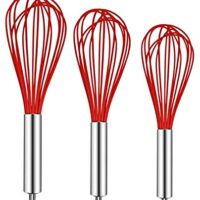 TEEVEA 3 Pack Very Sturdy Kitchen Whisk Silicone Balloon Wire Whisk Set