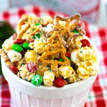 A close-up of Christmas White Trash in a white bowl.