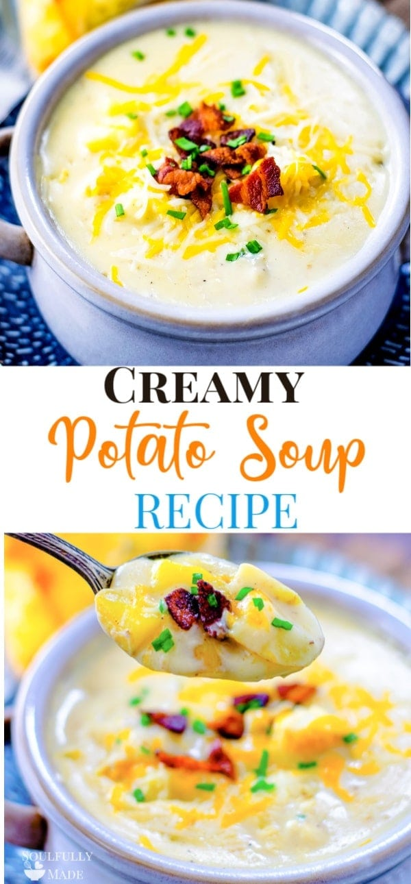 An easy and delicious creamy potato soup recipe all made in one pot on the stovetop. Loaded with bacon, creamy good potatoes, and topped with cheese to make the ultimate bowl of comfort food!