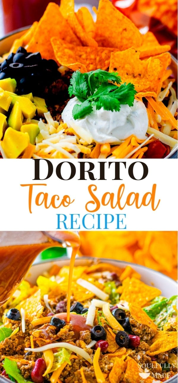 Dorito Taco Salad Recipe – the ultimate layers of seasoned ground beef, lettuce, cheese, your favorite taco toppings and crunchy Dorito chips. All tossed together in a delicious tangy dressing. #DoritoTacoSalad #CatalinaSalad #TacoSalad