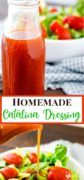 2 image pinterest collage with bottle of homemade catalina dressing a a bowl of lettuce and tomatoes.