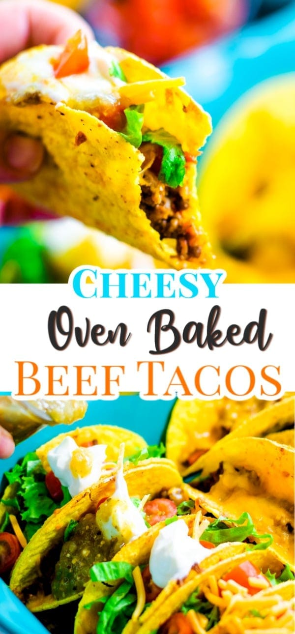 Cheesy Oven Baked Beef Tacos are always a hit with the whole family! Crispy taco shells filled with cheese and taco flavored ground beef and baked until melted and bubbly delicious! #OvenBakedTacos #OvenBakedBeefTacos #BakedTacos