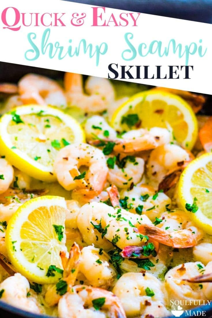 Garlic butter shrimp scampi is quick, easy, and ready in minutes. Sauteed in garlic, butter, white wine and finished off with lemon and parsley. A deliciously perfect meal made in a flash! #ShrimpScampi #garlicbuttershrimpscampi #skilletshrimpscampi