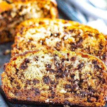 A close-up of chocolate chip banana bread slices.
