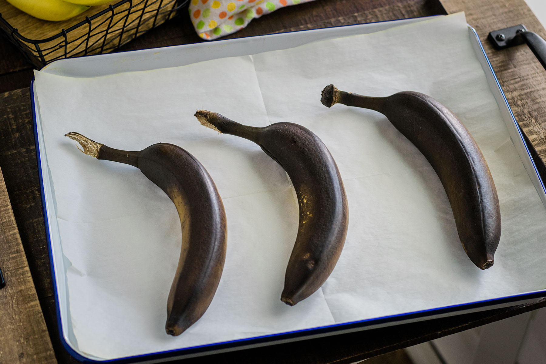 oven ripened bananas on a sheet pan