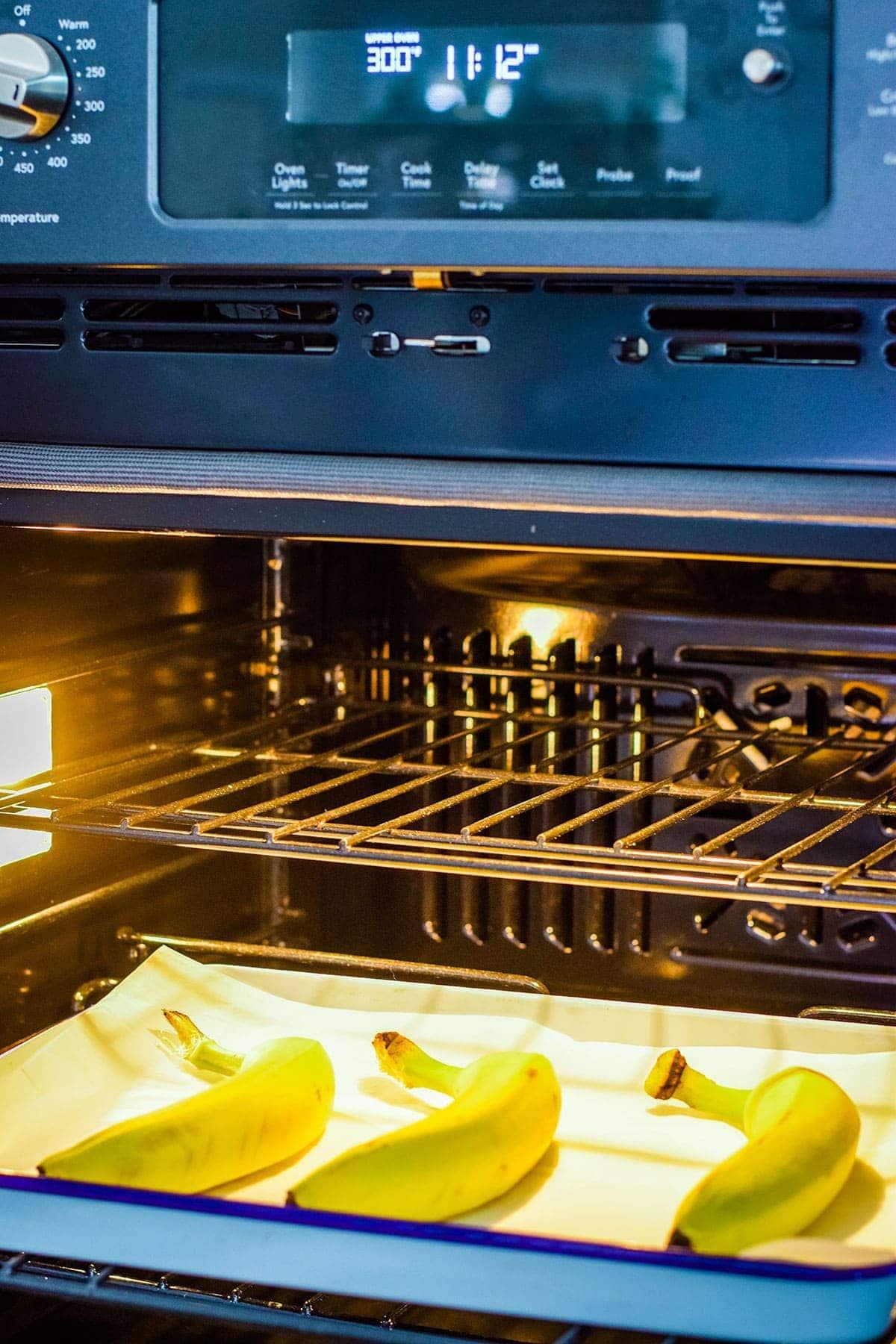 Bananas on baking sheet in oven