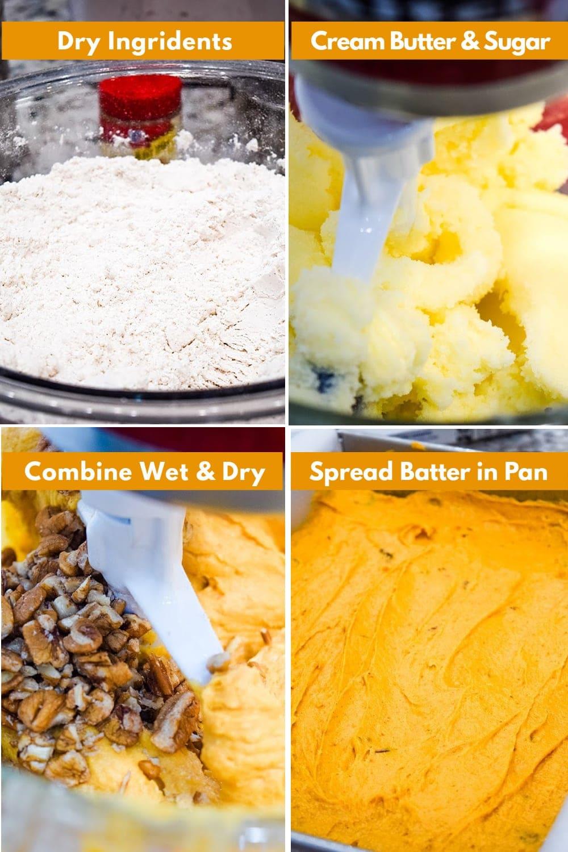 Instruction images for making pumpkin spice cake batter.