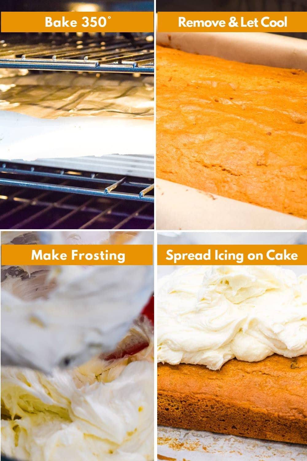 Instruction images for baking and frosting cake.