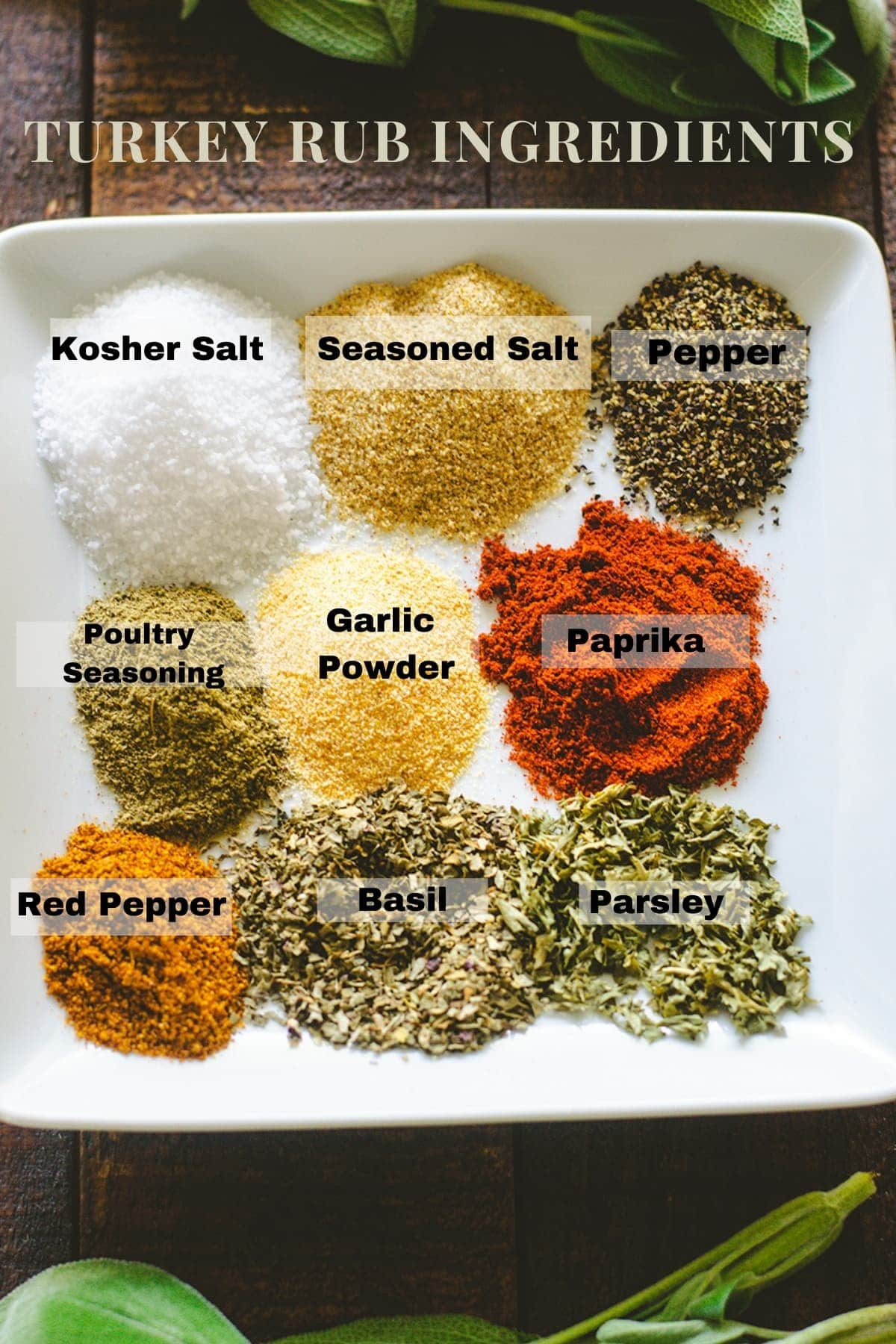 Turkey rub spices labeled by spice name on a white plate.