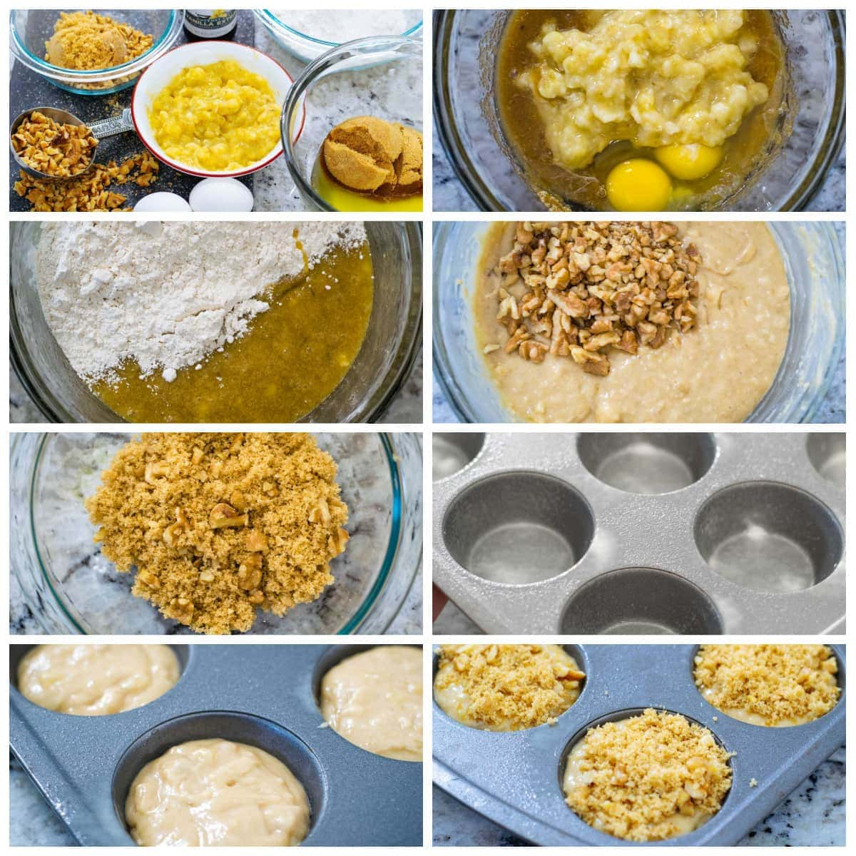 Banana Nut Muffin Ingredient and Instruction Picture Collage