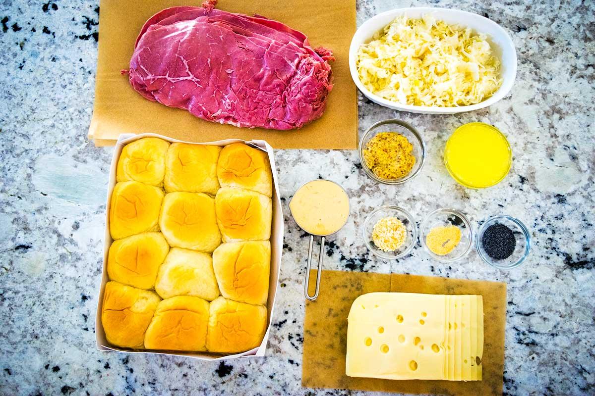 Baked Reuben Sandwich Sliders - image of ingredients.