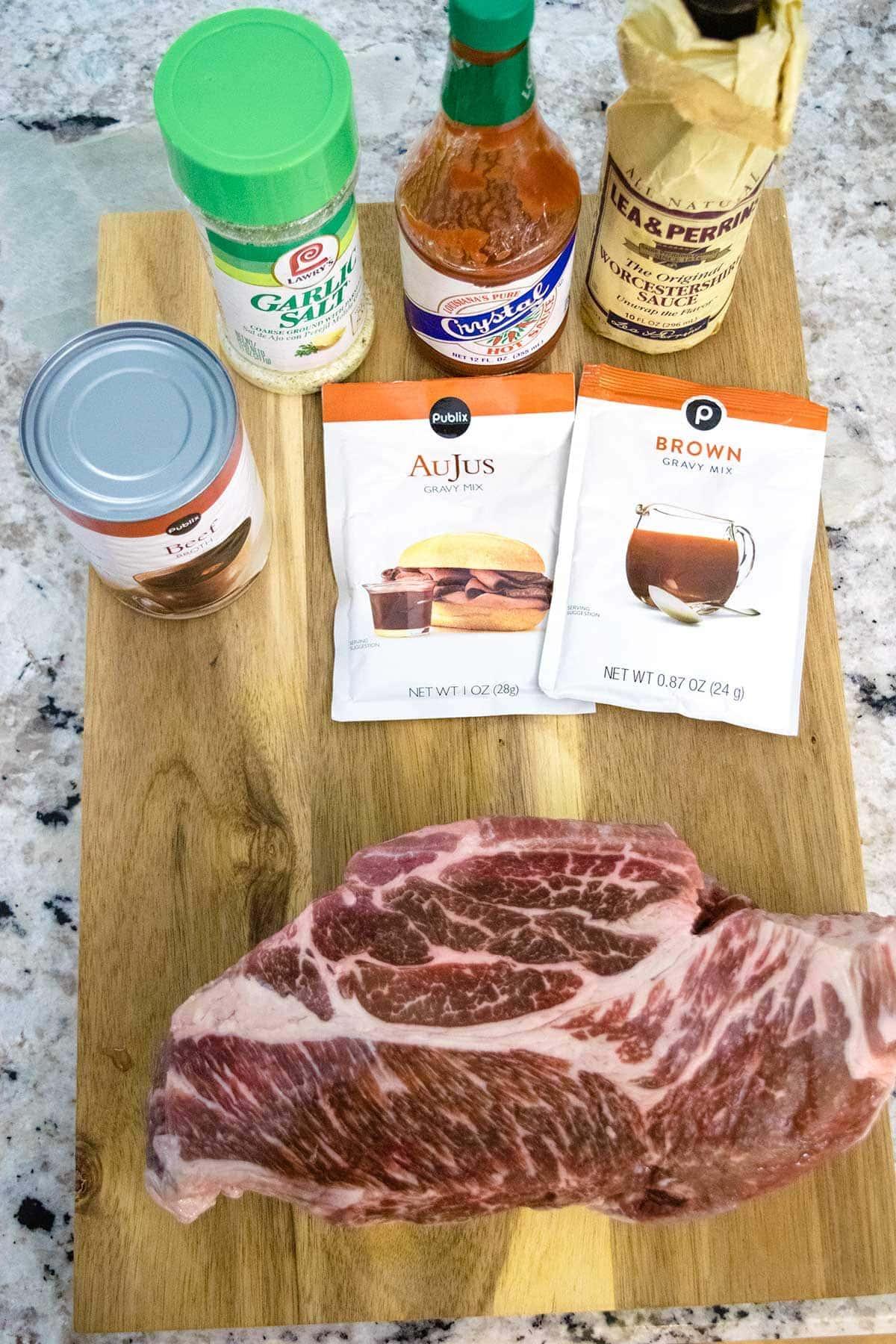 Picture of roast beef debris ingredients