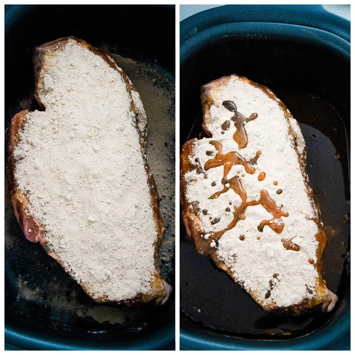 Collage of Steps 1 through 3 for Slow Cooker Roast Beef Debris