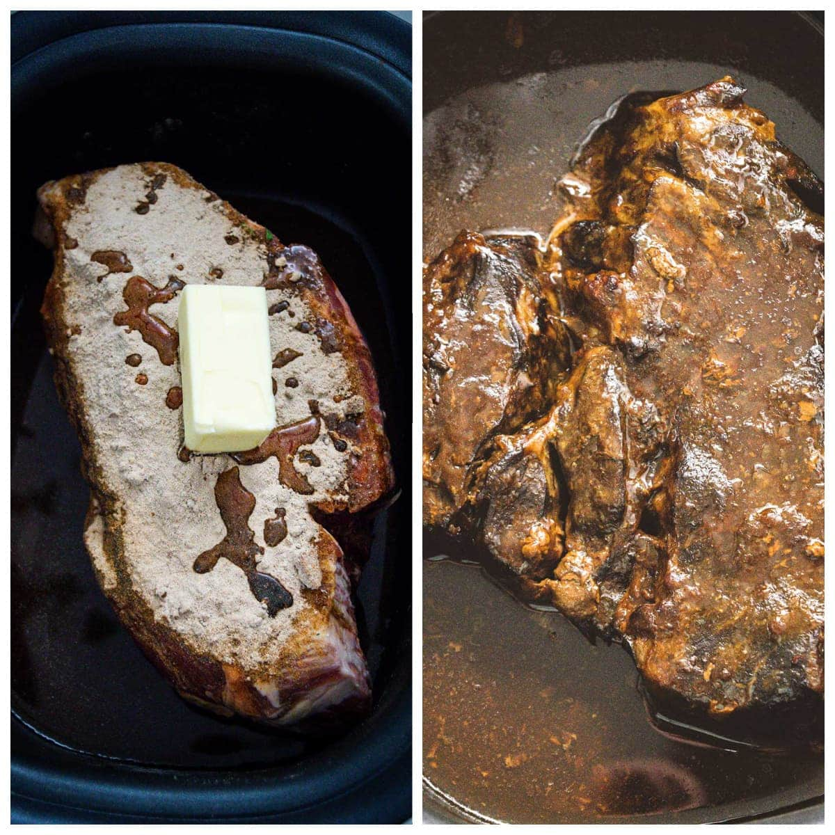 Collage of Steps 4 through 5 for Slow Cooker Roast Beef Debris
