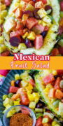 Mexican fruit salad pin collage image.
