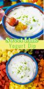 Lime yogurt dip pinterest collage image.