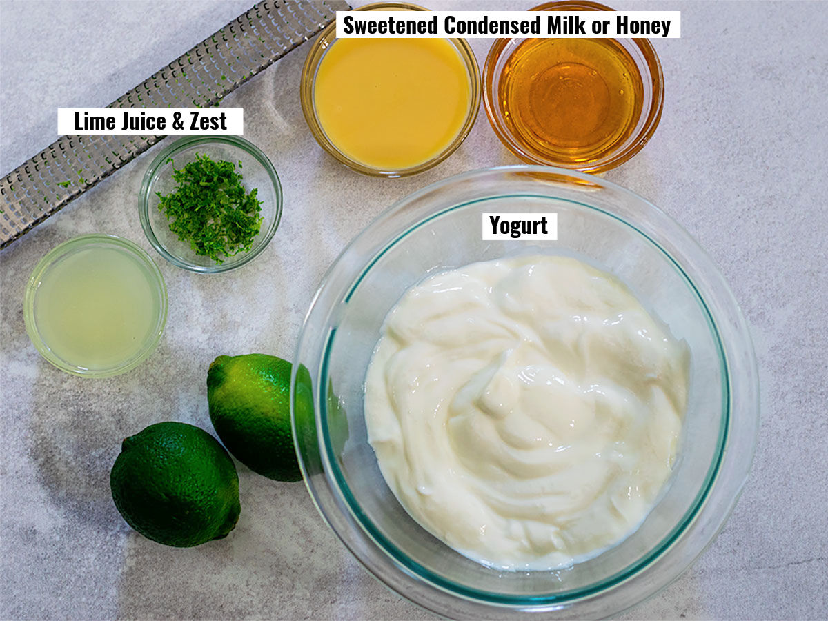 Labeled picture of  ingredients of lime yogurt dip which includes lime juice & zest, sweetened condensed milk or honey, and yogurt.