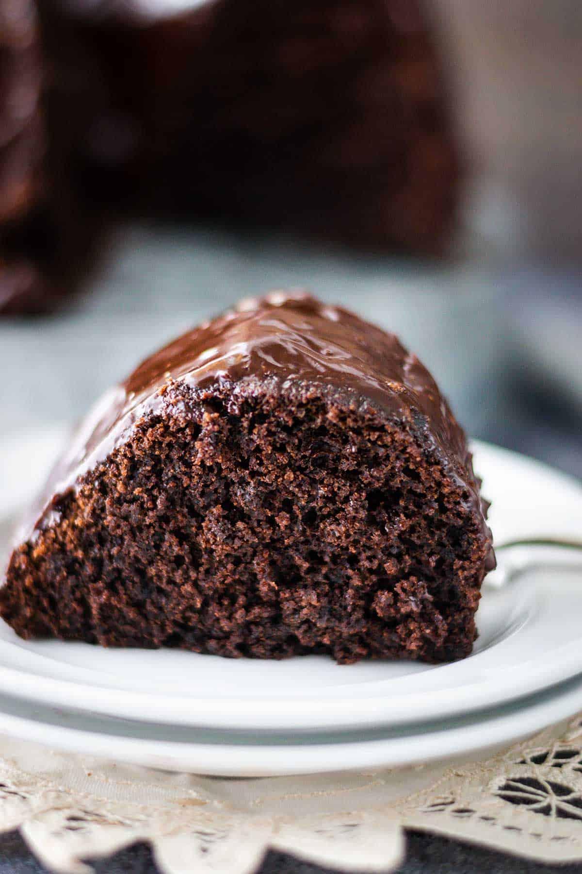 Upclose image of a chocolate brownie cake slice.