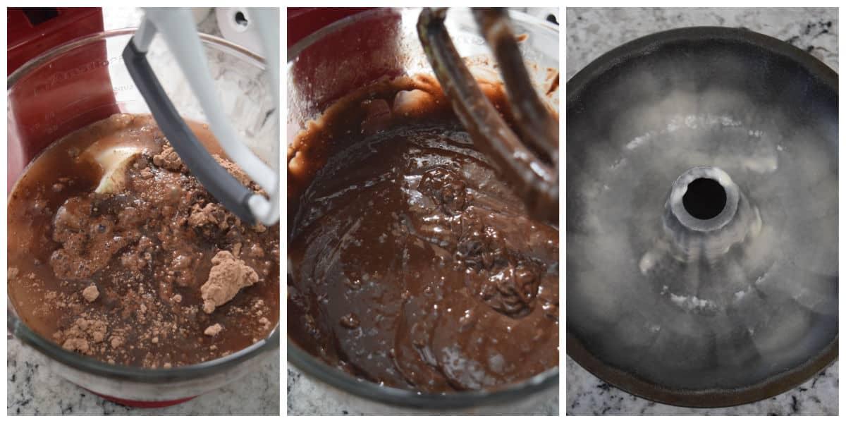 Image collage of mixing cake batter and sprayed bundt pan.
