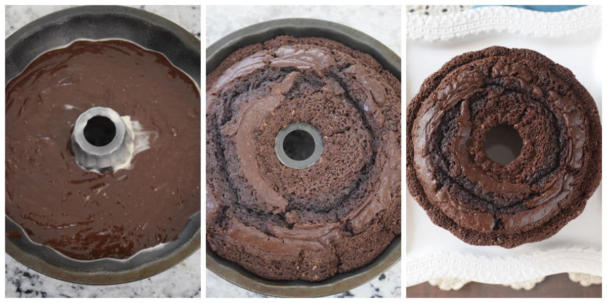 Image collage of cake batter in pan and cake cooked.