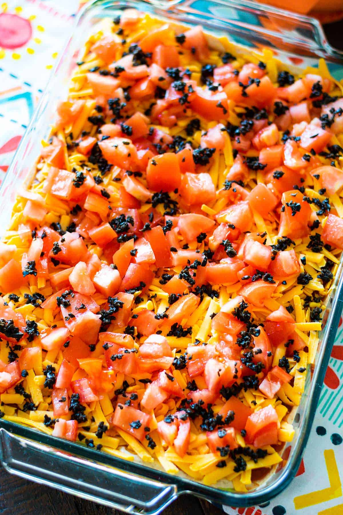 7 layer mexican dip on a festive