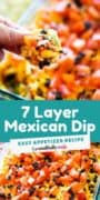 Pinterest image of a dish of 7 layer dip