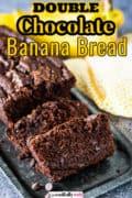 Pinterest image of chocolate banana bread.