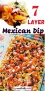 Pinterest collage image of a seven layer mexican dip