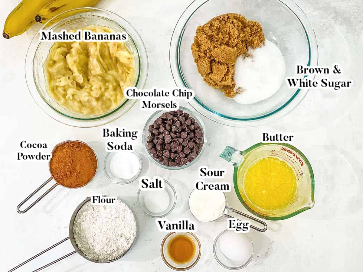Image of labeled ingredients for chocolate banana bread.
