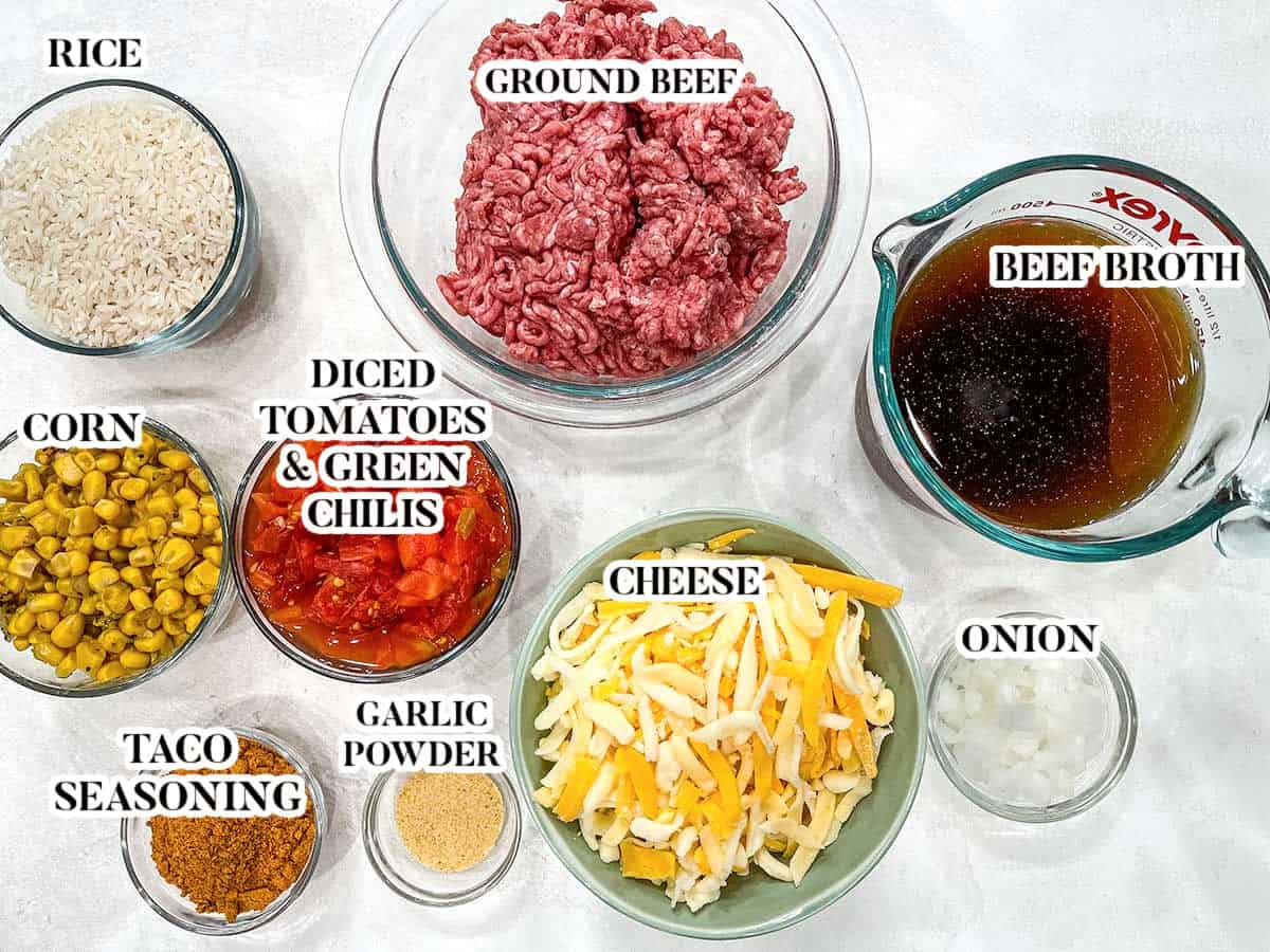 Labeled image of ingredients for Mexican beef and rice.