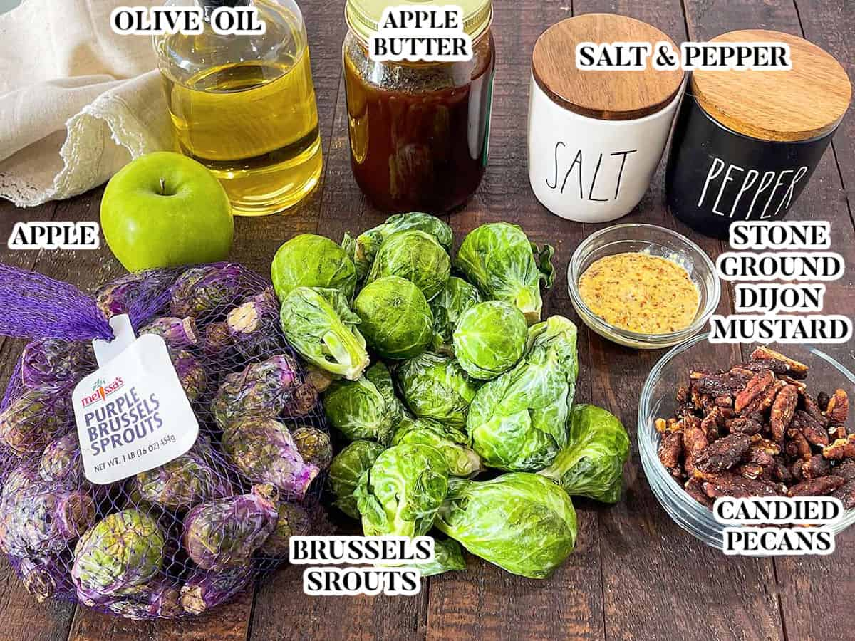 Labeled image of ingredients for apple butter dijon brussels sprouts.