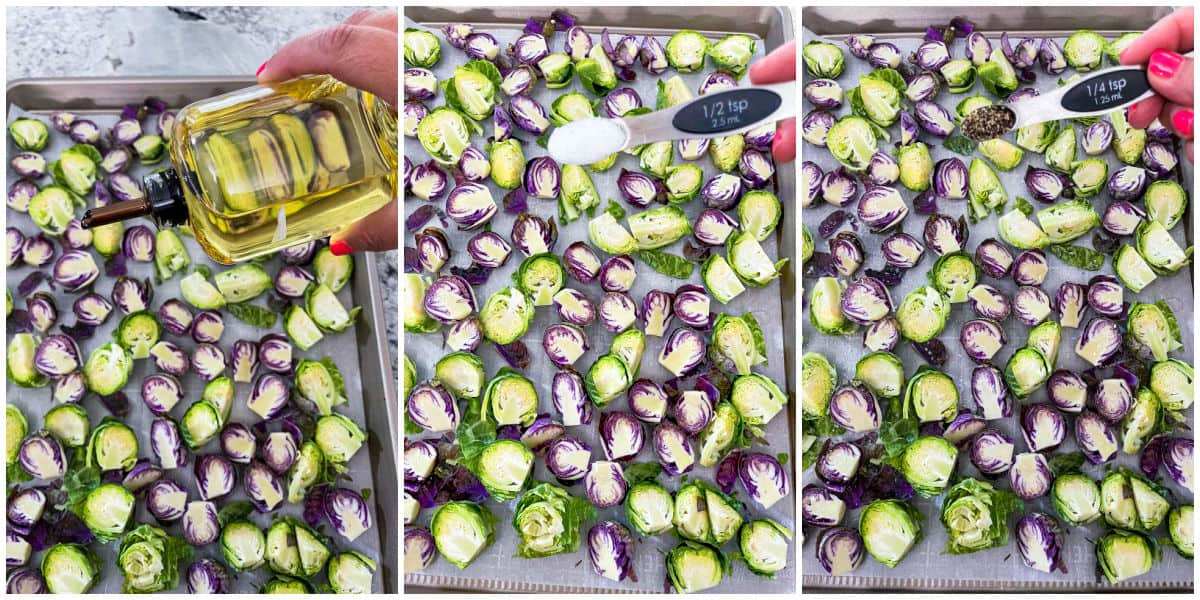 Image collage of adding olive oil, salt and pepper to brussels sprouts on sheet pan.