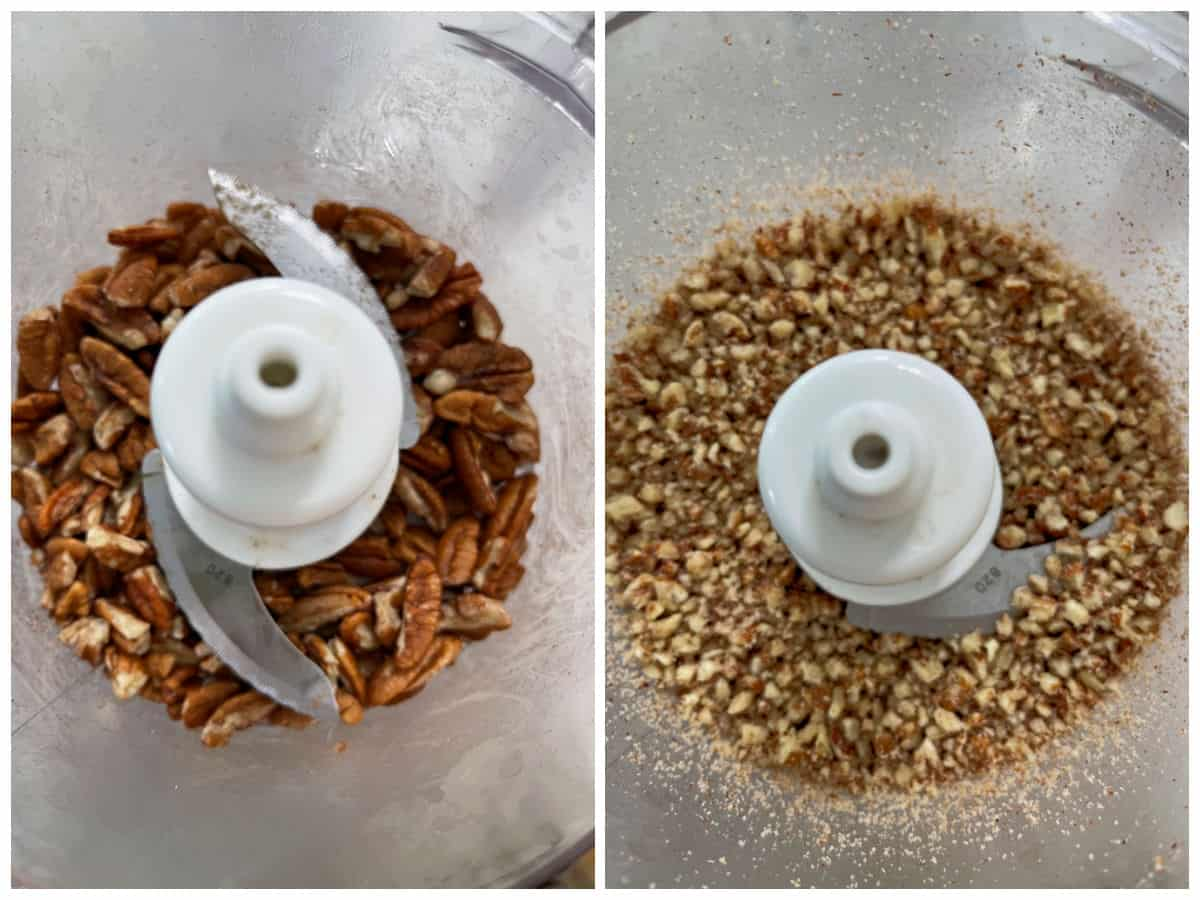 Collage image of pulsing pecans into a panko crumb like consistency.