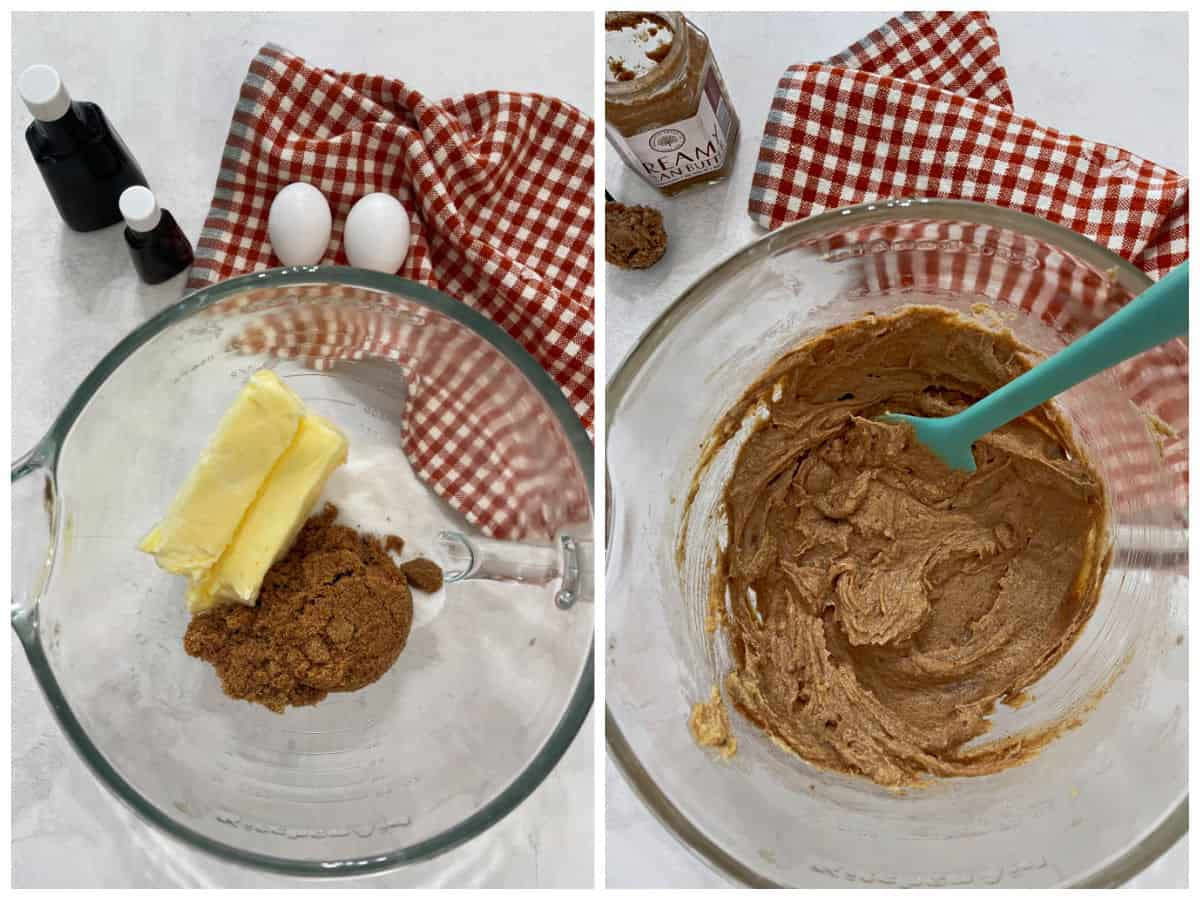 Collage image of creaming butter and sugar and then adding in eggs and extract.