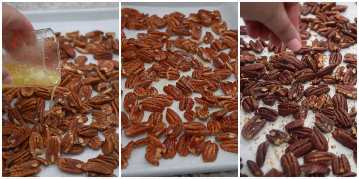 Oven roast pecans step collage image.
