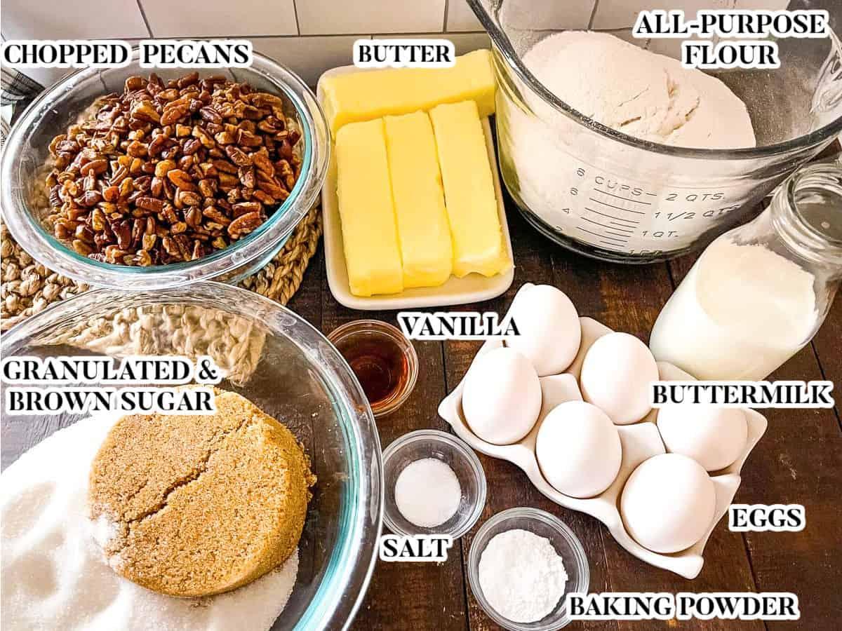 Labeled image of pecan pound cake ingredients.
