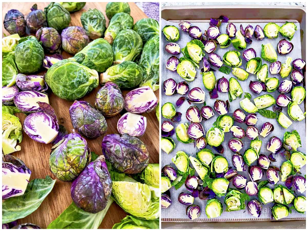 Image collage of brussels sprouts after washing and then cut and places on sheet pan.