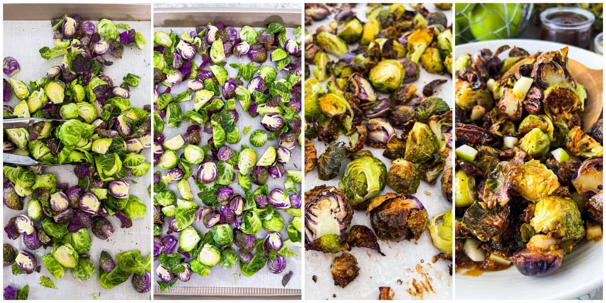 Image collage of tossing dressed brussels sprouts and what they look like after baking.