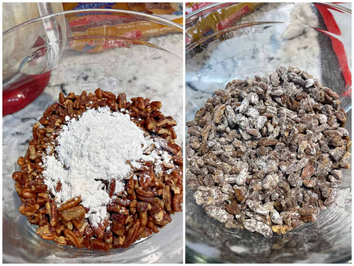 Collage image showing how to prepare pecans by tossing in flour.